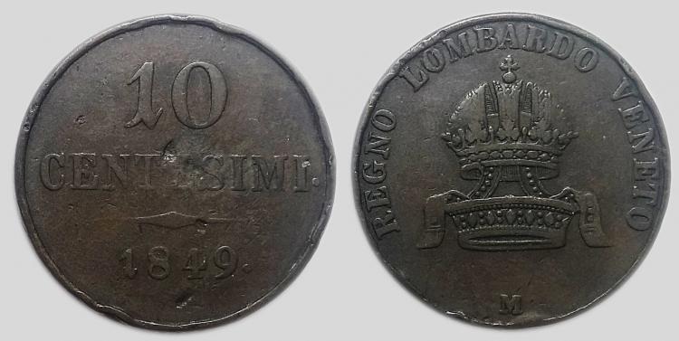 1849 10 centesimi M Ferenc József