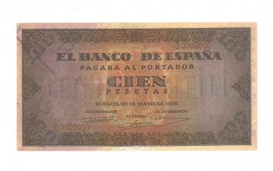 1938 100 pesetas specimen