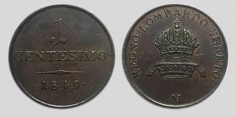 1849 1 centesimo M Ferenc József