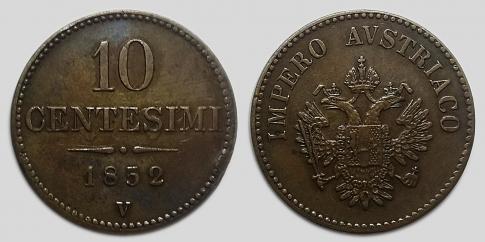 1852 10 centesimi V Ferenc József