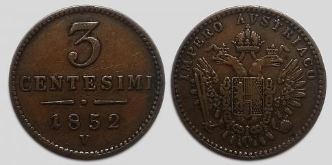 1852 Ferenc József 3 centesimi