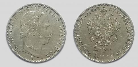 1860 1/4 florin B Ferenc József