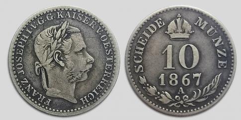 1867 10 krajcár A Ferenc József